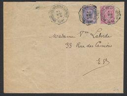 """émission 1884 - N°46 Et 48 Sur Lettre En Expres Obl Télégraphique """"Bruxelles (Quartier Léopold)"""" > La Ville. TB - 1884-1891 Léopold II"""