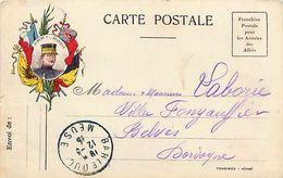 Cpa Franchise Postale Pour Les Armées Des Alliés - ALBERT 1er BELGIQUE -  Tongimed - Marcophilie (Lettres)
