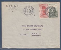 Afrique Occidentale Française AOF 2 Timbres Enveloppe De Conakry Guinée Française 17.1.53 à Paris N°37 39 - Storia Postale