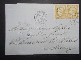 Marcophilie - Lettre Enveloppe Oblitération Timbre Classique Paire N°21 - 1867 (2659) - 1849-1876: Klassik
