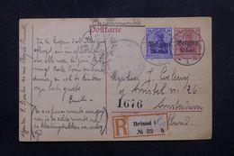 BELGIQUE / ALLEMAGNE - Entier Postal + Complément En Recommandé De Bruxelles En 1918 Pour Amsterdam - L 63207 - WW I