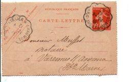 AMBULANT DE PORT-D'ATELIER A CHAUMONT 1913 - Marcophilie (Lettres)