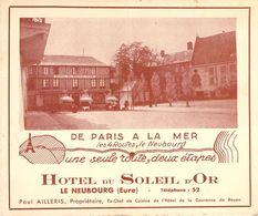 """CPA / CARTE DE VISITE FRANCE 27 """"Le Neubourg, Hotel Du Soleil D'Or"""" - Le Neubourg"""