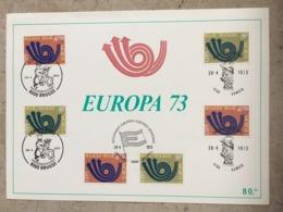 """1669/70 3x Série Complète """"Europa 1973"""" Avec 3 Cachets Différents : Brugge - Hamois - Bruxelles 1000 Brussel - Maximumkarten (MC)"""