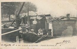 Batellerie Peniche Famille Du Berry à Bord . Canal Du Centre La Clayette 1903 - Chiatte, Barconi