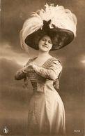 """Smiling Lady. Fantasy Hat"" Nice Old Vintage Antique Spanish Postcard - Women"