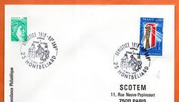 25 MONTBELIARD   ARMISTICE 1918    1978 ( Timbre Concordant ) Lettre Entière N° DE 819 - Cachets Commémoratifs