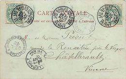 Cachets Convoyeur VELLUIRE à FONTENAY LE COMTE, FONTENAY LE COMTE A NIORT, LES SABLES D OLONNE, CHATELLERAULT 1901 - Trains