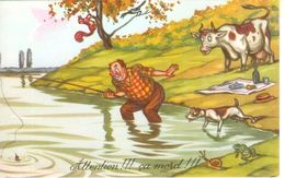 Cpa Humour Campagnard , Attention ..ça Mord !!! Vache , Chien , Grenouille , Escargot , Voyagée - Humor