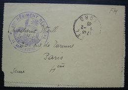 221 Régiment Régional, Cachet Sur Carte Lettre Pour Paris - Marcofilie (Brieven)