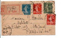 AFFRANCHISSEMENT COMPOSE DE SEMEUSE SUR ENTIER RECOMMANDE DE PARIS 72 1920 - Marcophilie (Lettres)