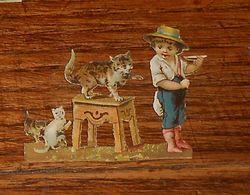 Découpis Fin XIXe. Un Petit Garçon Avec Des Chats. - Ragazzi