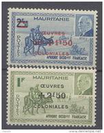 Mauritanie N° 131 / 32  XX  Caravane Et Effigie Du Mal Pétain Surchargés , Les 2 Valeurs Sans Charnière, TB - Ungebraucht