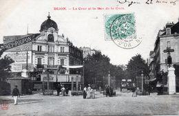 """DIJON       Tramways  Arrivant  Dans La Cour De La Gare   Publicité """"moutarde Et Absinthe"""" - Dijon"""