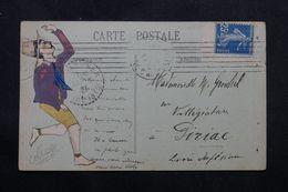 FRANCE - Type Semeuse 25ct De Carnet Sur Carte Postale Pour Piriac En 1921 - L 63244 - Marcophilie (Lettres)