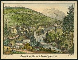 ÖSTERREICH Ca. 1910/20, KUPFERSTICH-PK AQUALLIERT, POSTANKUNFT IN WILD GASTEIN - Autriche
