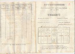 1870 AFRAGOLA NAPOLI AVVERTIMENTO CONTRIBUZIONE SUI TERRENI - Vecchi Documenti