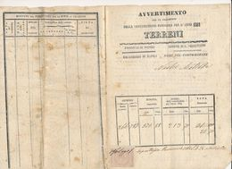 1869 SAN SEBASTIANO AL VESUVIO AVVERTIMENTO CONTRIBUZIONE SUI TERRENI - Unclassified