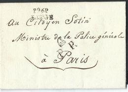 L An 6 Marques P96P/LIEGE (20X10mm) Pour Paris + Rappel PP Avec Bonnet Phrygien (texte Intéressant) - 1794-1814 (Période Française)