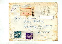 Lettre Recommandée Chargé Nice Sur Pasteur Semeuse - Marcophilie (Lettres)