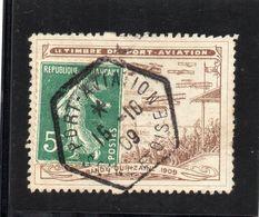 !!! 5 C SEMEUSE SUR PORTE TIMBRE PORT AVIATION 1909 OBLITERE - Publicités
