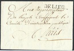 """L An 3 """"Armée De Sambre Et  Marques DE LIEGE (38X6mm) Pour Paris. Texte Sur La Démolition De L'Eglise St Lambert ... - 1794-1814 (Période Française)"""