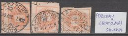 ☀ SLOVAKIA HUNGARY AUSTRIA 1881, 3 Postmarks POZSONY BRATISLAVA, Magyar Kiraly Posta NEWSPAPER STAMP 1Kr ZEITUNG F - Slovakia