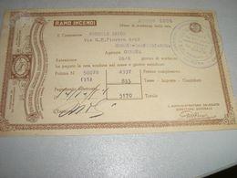 RICEVUTA COMPAGNIA ANONIMA D'ASSICURAZIONE DI TORINO 1954 - Banca & Assicurazione