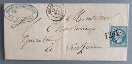 EMPIRE DENTELE 22 SUR LETTRE DE CULAN A VIERZON DU 19 MAI 1867 (GROS CHIFFRE 1254) - 1849-1876: Periodo Classico