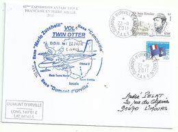 YT 557 Dr Rivolier - Transport Par Avion Twin Otter - Dumont D'Urville - Terre Adélie - 03/11/2010 - Briefe U. Dokumente