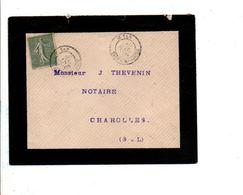 SEMEUSE SUR LETTRE DE SAINT YAN SAONE ET LOIRE 1905 - Marcophilie (Lettres)