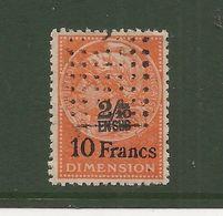 FISCAUX  FRANCE DIMENSIONS N°93 2/10 En Sus Sur 10 Francs Jaune Oblitéré - Revenue Stamps