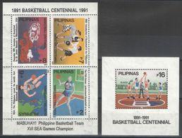 Philippines - Blocs - BF - YT 36-37 ** MNH - 1991 - Basket-ball - Philippines