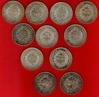 Monnaie Française Hercule 50 Francs Argent  Lot De 11 Pièces - France