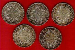 Monnaie Française Hercule10 Francs Argent Lot De 5 Pièces G.813 - K. 10 Francs