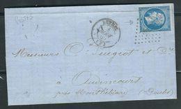FRANCE 1860 N° 14  H Pli D'archive ( Postfs) Obl. S/Lettre PC 2655 Rethel - 1853-1860 Napoléon III