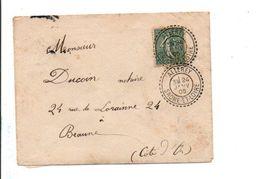SEMEUSE SUR LETTRE DE ALLEREY SAONE ET LOIRE 1905 - Marcophilie (Lettres)