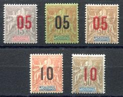 RC 17836 Nelle CALÉDONIE COTE 11€ N° 105 / 109 SÉRIE TYPE GROUPE SURCHARGÉE NEUF *TB  MH VF - Neufs