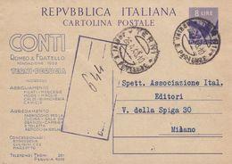 ITALIA  - TERNI - CONTI  ROMEO E FRATELLO -INTERO POSTALE L.8 - VIAGGIATO PER MILANO - Interi Postali