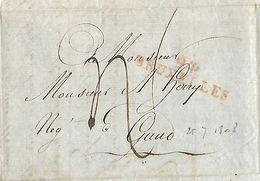 Lettre Expédiée De Bruxelles Le 26 Juillet Vers Gand - Griffe 94 BRUXELLES Rouge (Nic 012) - 1794-1814 (Période Française)
