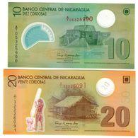 Nicaragua Lot Set 10/20 Cordobas 2007 S/N A1 Polymer UNC .PL. - Nicaragua