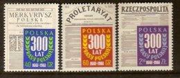 POLAND, 1961 Mi 1218-20** Polish Newspapers 300 Years [386] - 1944-.... République