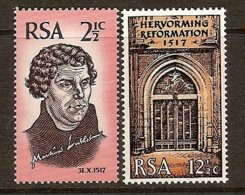SOUTH AFRICA, 1967 Mi 359-60** 450th Anniversary Of The Reformation [3224] - Unused Stamps