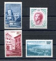 RC 17855 MONACO COTE 55€ N° 506 / 509 VUES ET PRINCE RAINIER III NEUF ** TB  MNH VF - Unused Stamps