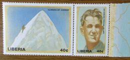 Sir Edmund Hillary, 1953 Mount Everest, Postfrischer Zusammendruck, Liberia Mi 2228-2229 - Climbing