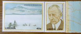 Roald Amundsen,1911 Expedition Zum Südpol, Postfrischer Zusammendruck, Liberia Mi 2232-2233 - Antarctic Expeditions