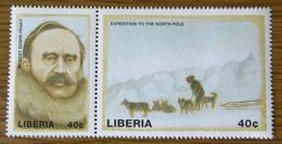 Robert Peary, 1909 Expedition Zum Nordpol, Postfrischer Zusammendruck, Liberia Mi 2226-2227 - Arctic Expeditions
