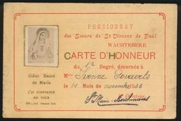 WACHTEBEKE  SCHOOLKAART 1933  PENSIONNAT DES SOEURS DE ST VINCENT DE PAUL  ZIE 2 AFBEELDINGEN - Wachtebeke