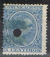 Sello 5 Cts Alfonso XIII Pelon, Telegrafos, Perforado Telegrafico, Num 215T º - Telegramas