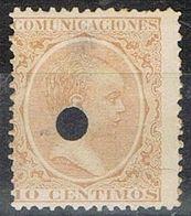 Sello 10 Cts Alfonso XIII Pelon, Telegrafos, Perforado Telegrafico, Num 217T º - Telegrafen